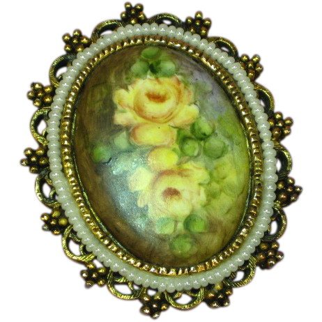 Hand Painted Artist Signed Porcelain Yellow Rose Floral Pendant Pin Brooch