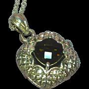 Vintage NOS New Old Stock Sterling Silver Big Bold Exquisite Genuine Smokey Quartz Necklace