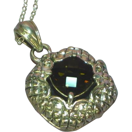 Vintage NOS New Old Stock Sterling Silver Big Bold Exquisite Genuine Smokey Quartz Necklace