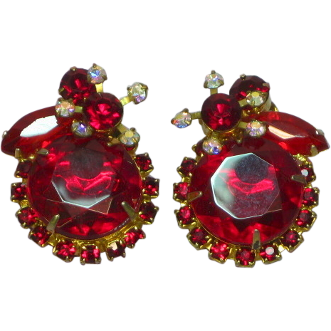 Juliana D&E DeLizza & Elster Siam Red AB Big Bold Rhinestones Large Clip Earrings