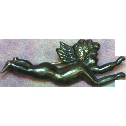 Margot de Taxco #5328 Sculptural Vintage Repousse Cherub Mexico Mexican Brooch Pin