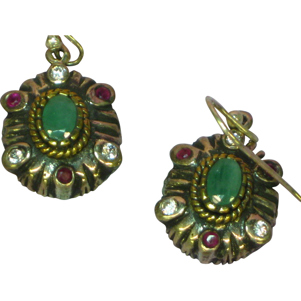 Gemstones Stunning Sterling Silver Moghul Simulated Diamond, Ruby, and Emerald Dangle Drop Pierced Earrings