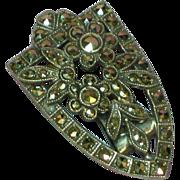 Vintage Art Deco Sterling Silver Marcasite Clip Brooch