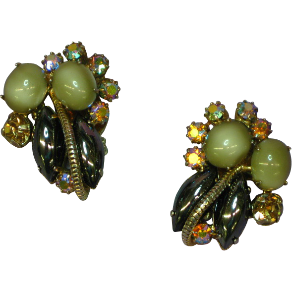 Rhinestones Moon Glow Hematite Topaz A/B Gold Plate Clip Earrings