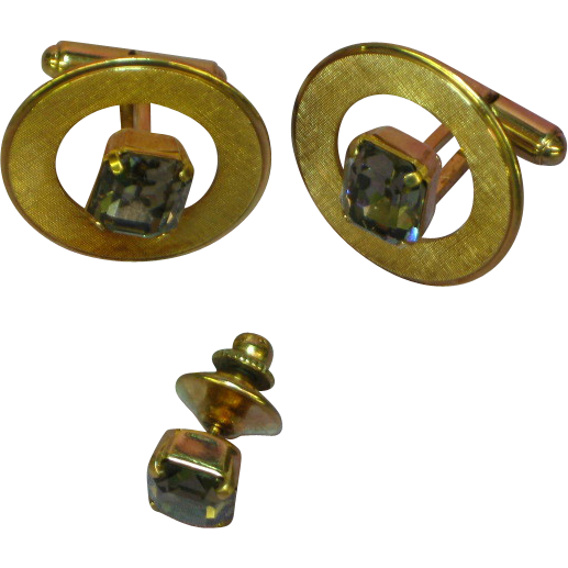 Destino Gold Filled Emerald Cut Smoke Gray Glass Rhinestone Cufflinks and Tie Clasp Set