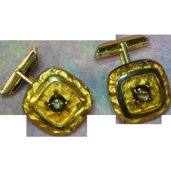 Gemstones Black Star Sapphire Sterling Silver Cuff-links