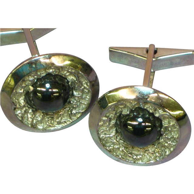 Gemstones Black  Hematite Alaska Diamond Rhodium Plate Cuff-links