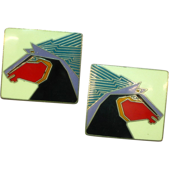 "Gorgeous Laurel Burch ""STALLION"" Enameled Pierced Earrings"