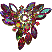 Juliana D&E DeLizza & Elster Red Aurora Borealis Rhinestones Pin Brooch