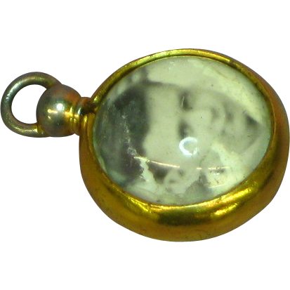 Double Sided Plastic Bubble Photo Locket Drop Dangle Pendant Sterling Silver Vermeil