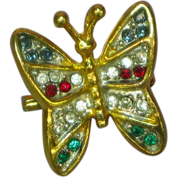 Rhinestones Magnificent Butterfly Pendant Pin Brooch
