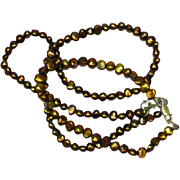 Gold & Peacock Freshwater Cultured Pearl Necklace & Bracelet Set