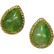 Vintage Unsigned Beauties Gold Tone Faux Jade Pierced Earrings