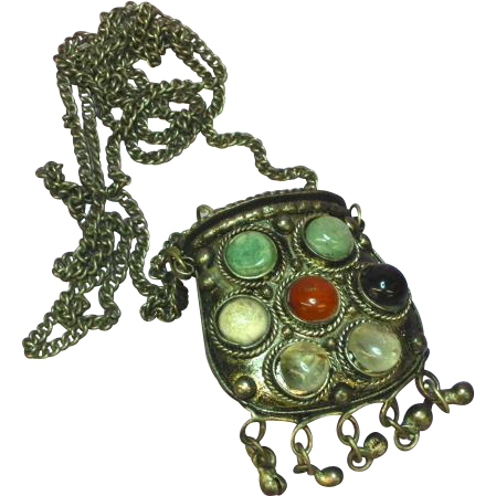 Gemstones Natural Stone Agate Medieval Renaissance Revival Tribal Large Purse Necklace