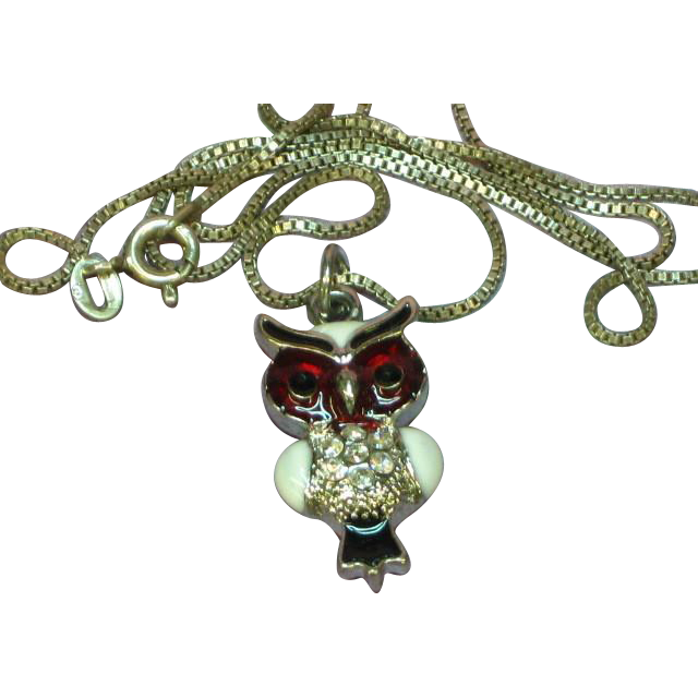 Red White and Black Enamel Rhinestones Owl Sterling Necklace