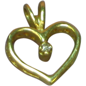 Vintage 14k Yellow Gold & Diamond Open Heart Necklace  Pendant Charm