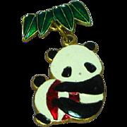 Chinese Enamel Panda Bear Charm Pendant Pin