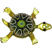 50% OFF SALE Turtle Bright Shiny Gold-tone Rhinestones Eyes Figural Pin Brooch
