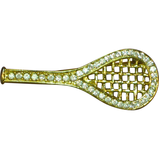 50% OFF SALE Rhinestones Gold tone Tennis Racket Pin Brooch