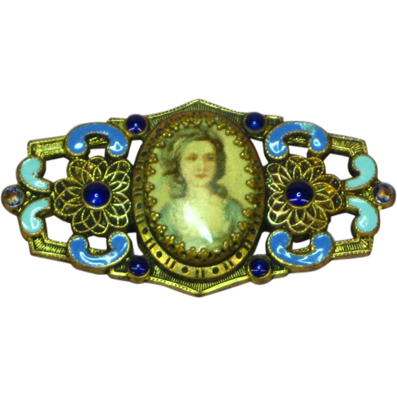Celluloid Photo Brooch With Enamel Brass Frame