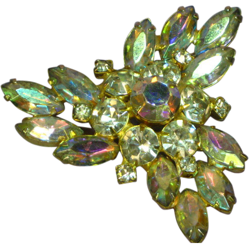 Juliana Rhinestones Clear A/B Large Crystal Brooch Pin