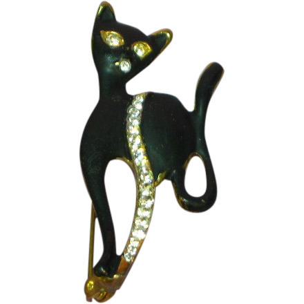 Rhinestones Sophisticated Black Cat Kitty Animal Figural Pin Brooch