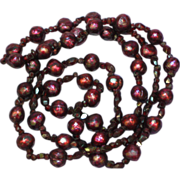 """Faceted Pearls! Deep Red Faceted Garnets Beaded 26"""" Necklace"""