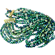 Beads Multi Bead  10 Strand JAPAN Signed Peacock Color Necklace