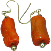 Coral Sterling Silver Pierced Large Natural Coral Branch Drop Earrings