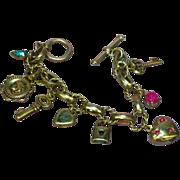 Charm Heart Key Gold Tone Rhinestone Bracelet