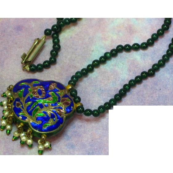 Chinese Cloisonne Jade Rhinestones Reversible Pendant Necklace