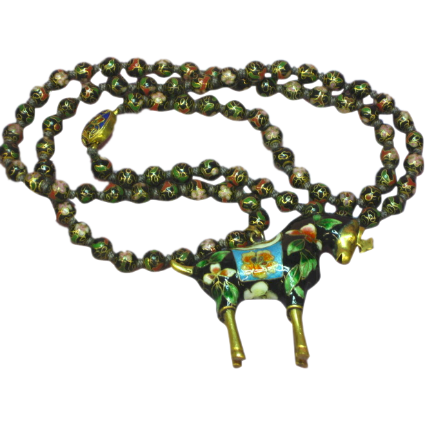 Chinese  Cloisonne Horse Figural Pendant Sautoir Beaded Necklace