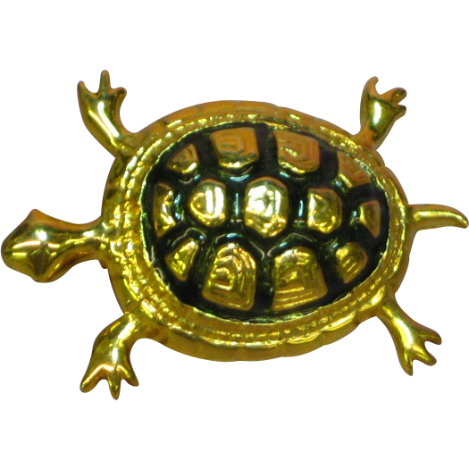 50% )FF SALE Enamel Black Gold Tone Turtle Pin