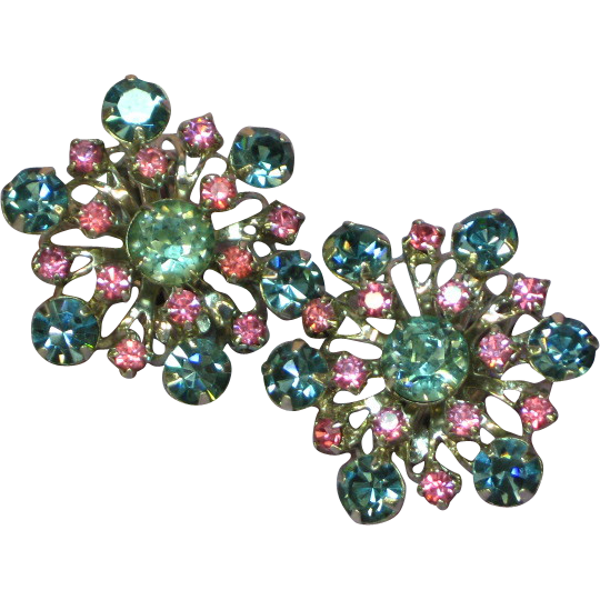 50% OFF SALE Beautiful Pink & Blue Rhinestones Earrings By Gale