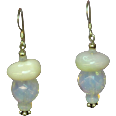Gemstone Peruvian Opal and Opalescent Opalite Opaline Glass Dangle Sterling Silver Pierced Earrings