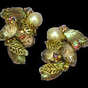 Kramer Signed Sensational Art Glass and A/B Crystal Rhinestone Clip Earrings