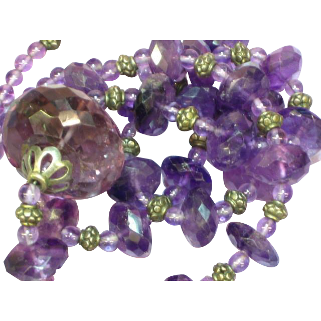 "Gemstones Long Faceted Amethyst Sterling Silver 24"" Necklace"