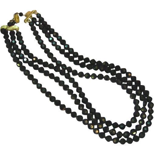 Vendome Black Faceted A/B Beads Three Strand Necklace