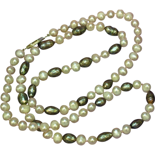 "SALE! Deep Luster South Sea Baroque Cultured Pearl and Faceted Black Potato Pearls 24"" Necklace"