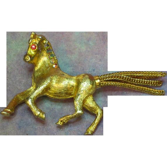 Equestrian Rhinestone Figural Horse Pony Pin Brooch.