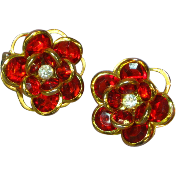 Crystal Christmas Red Bezel Set Clip Earrings