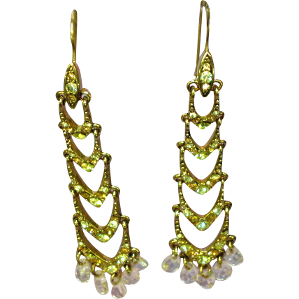 Rhinestones Long Dangle Yellow Drop Chandelier Earrings Brilliant!