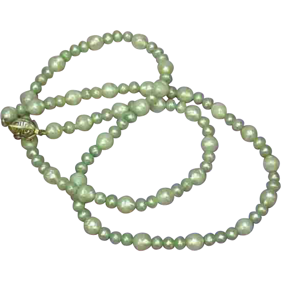 "SALE! Deep Light Green Luster South Sea Faceted Cultured Pearls 25"" Necklace"