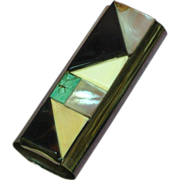Native American Lighter Cover  Silver Turquoise Agate Mother of Pearl