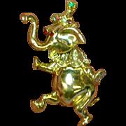 Movable Head Rhinestones Dancing Elephant Figural Animal Pin Brooch