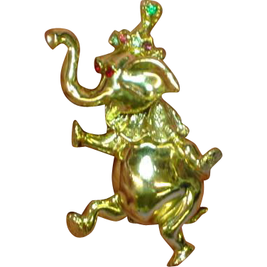Movable Head Rhinestones Dancing Elephant Figural Animal Pin Brooch