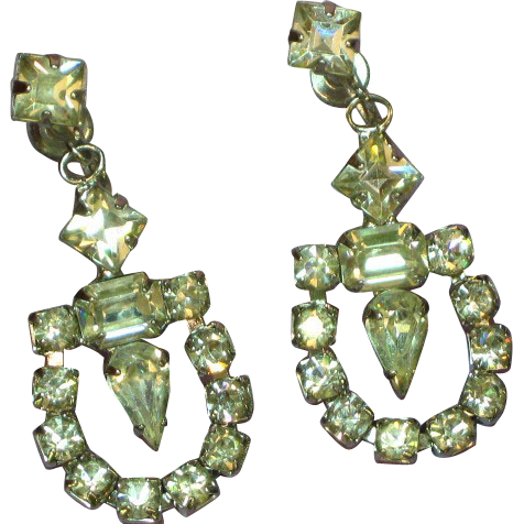 Rhinestones Prong Set Clear Bright Screw-back Dangle Earrings