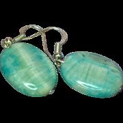 Vintage Semi Precious Iridescent Blue Agate Pierced Earrings