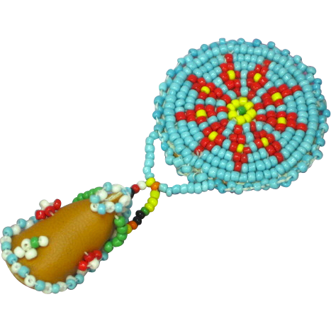 Native American Motif Beaded Pin Brooch Blue Red Yellow