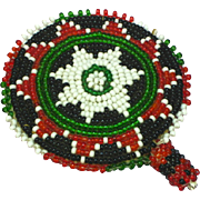 Native American Beaded Barrette Black White Green Red